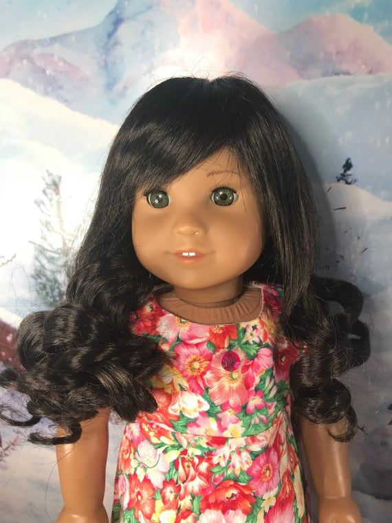 """African American """"Jenny"""" Melody Dark Skin Replacement Wig for American Girl Doll"""