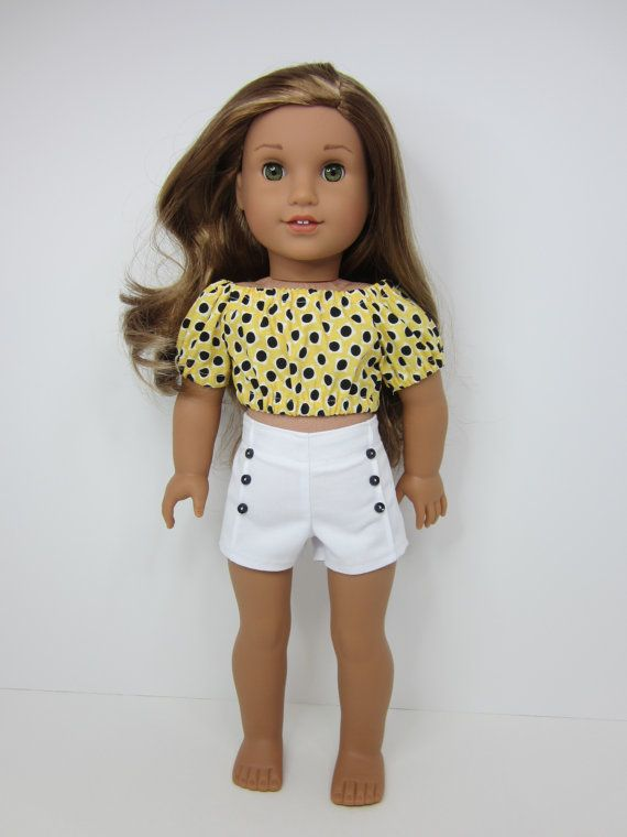 American girl doll clothes- Cute yellow peasant crop top with white pin tuck sho...