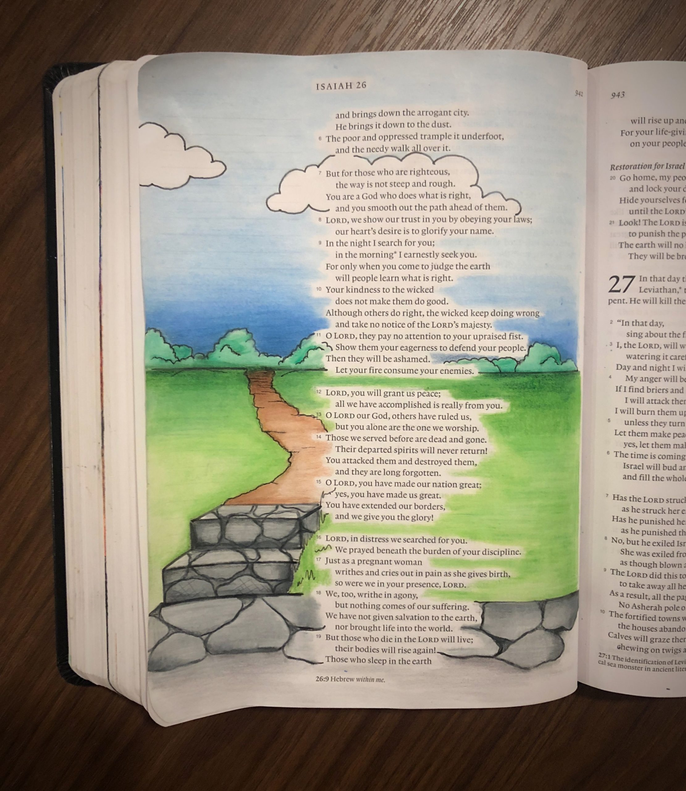 """Bible Art Journal Page Isaiah 26:7 """"But for those who are righteous, the way is ..."""