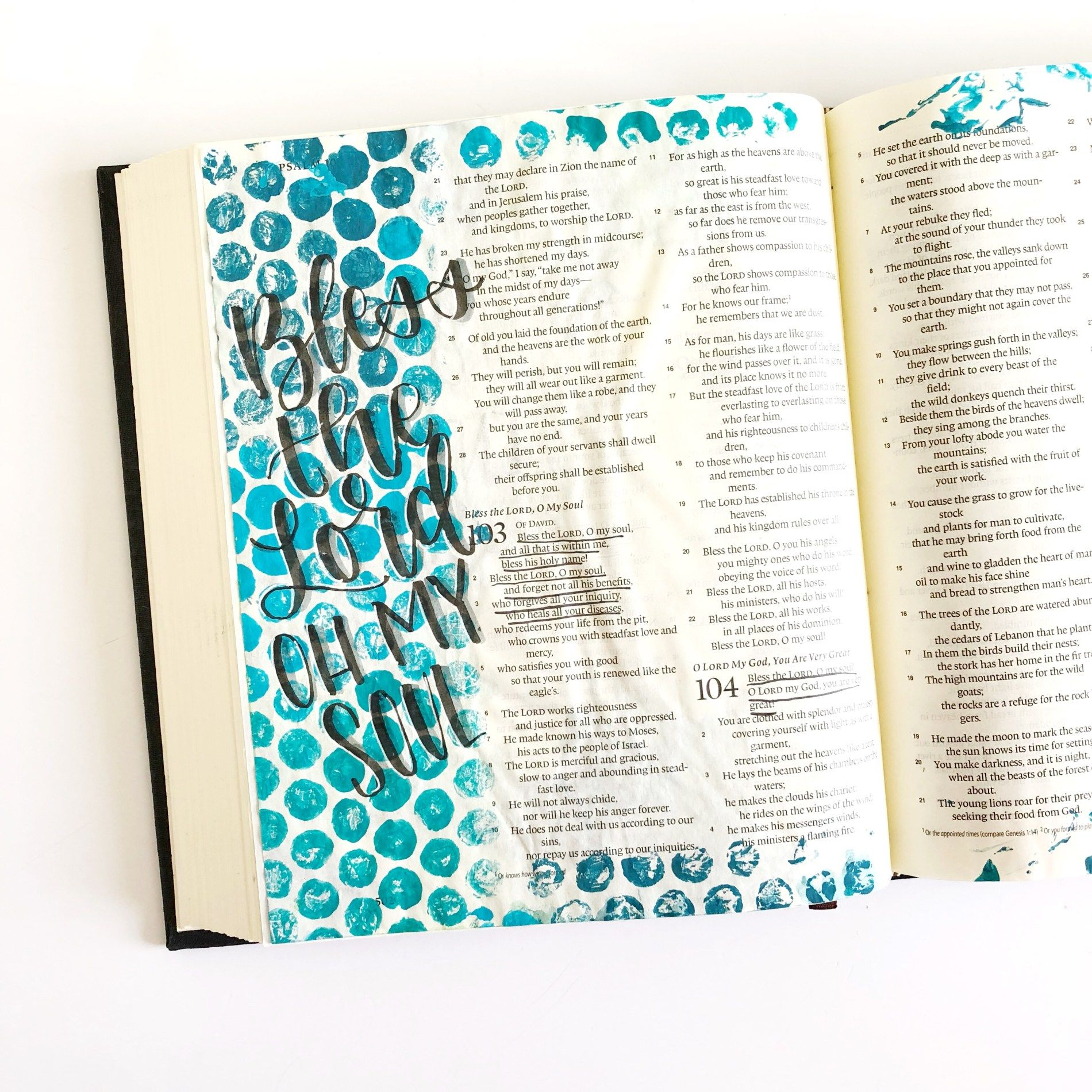 Bible Journaling With Household Objects- Part Two- Plastic Wrap and Bubble Wrap! - Scribbling Grace