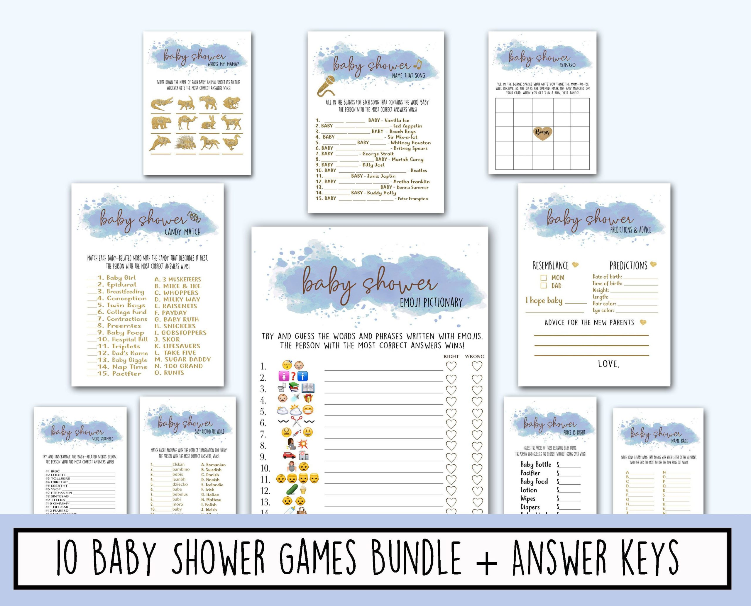 Blue Clouds Baby Shower Game Bundle Pack - Light Blue Watercolor - Instant Printable Digital Download Baby Shower Shower Activities & Games