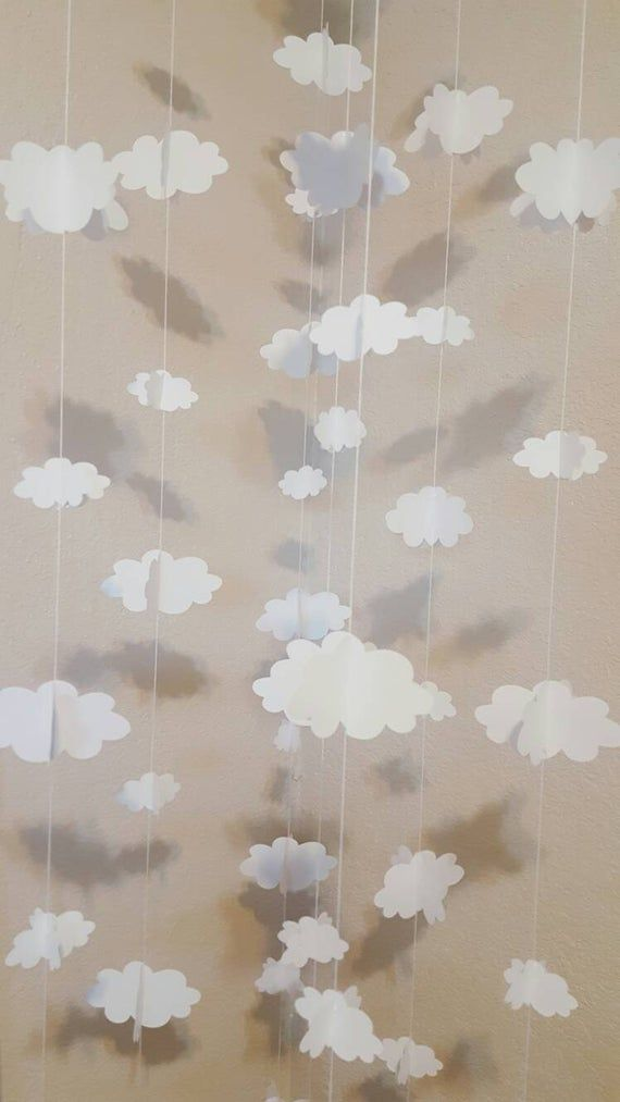 CLOUDS GARLAND 3D--Big and Small Clouds-Baby Shower-Nursery Decor-Clouds and Airplanes-First Birthday-