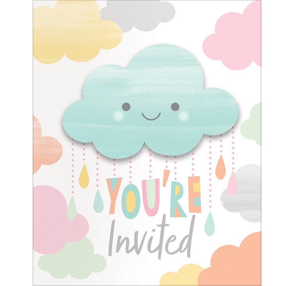 """Club Pack of 48 Blue and White Sunshine Baby Showers Invitation Card 7.5"""" - 32756920"""