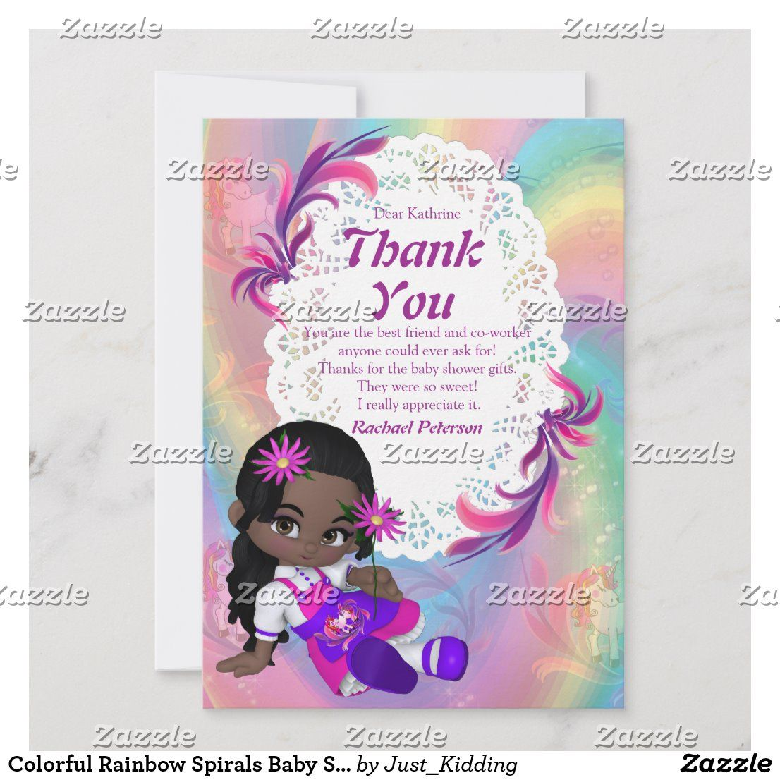 Colorful Rainbow Spirals Baby Shower Thank You Card | Zazzle.com