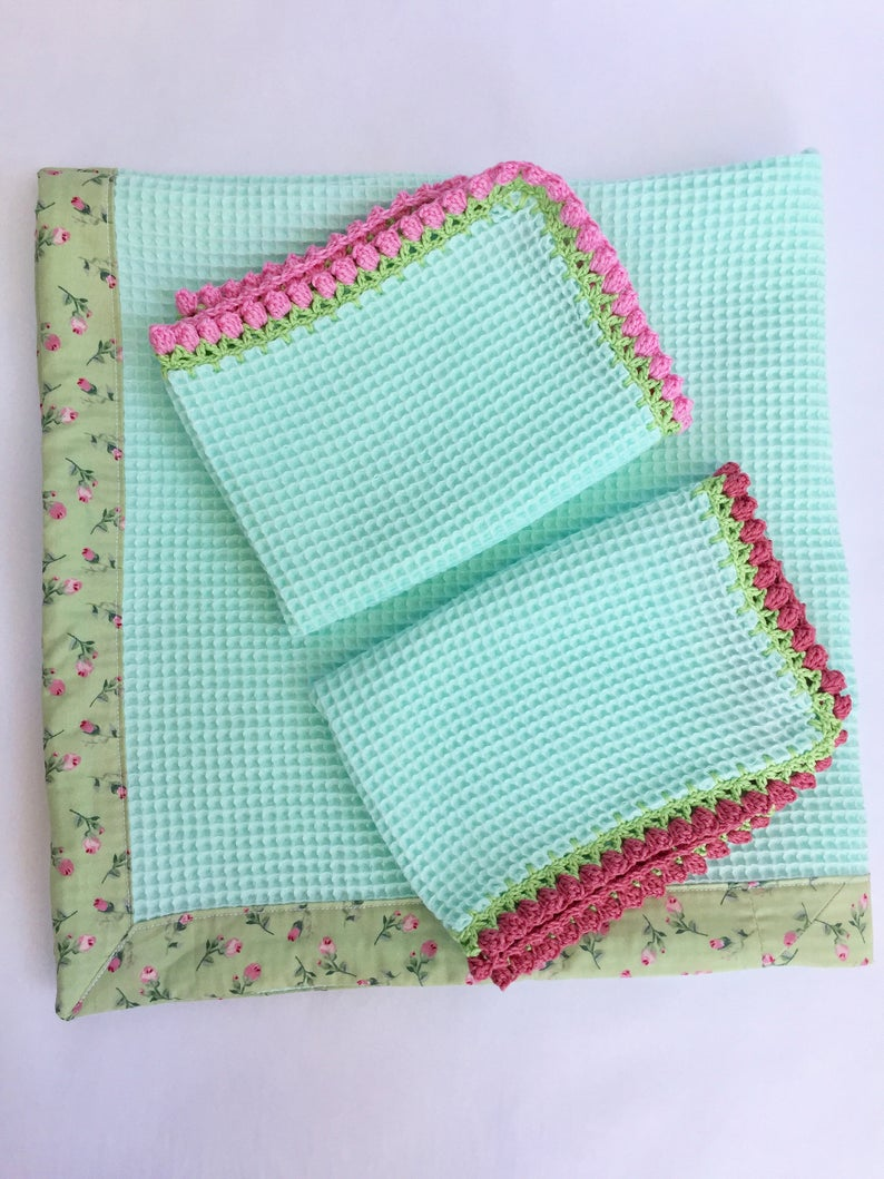 Cotton Waffle Weave baby towels, Honeycomb weave towel set. Ready for baby bath ...