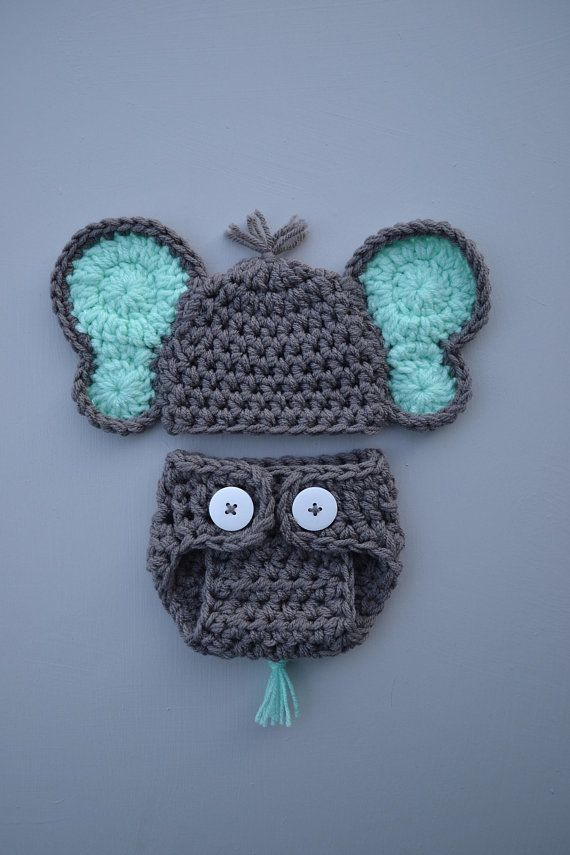 Crochet Elephant Outfit Elephant Baby Outfit Newborn Boy Photo Outfit Photography Prop Elephant Baby Outfit Elephant Mint Ears Handmade
