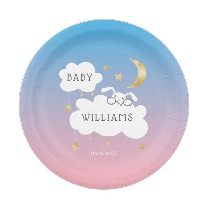Cute Bunny Gender Reveal Party Pink Blue Gold Paper Plate | Zazzle.com