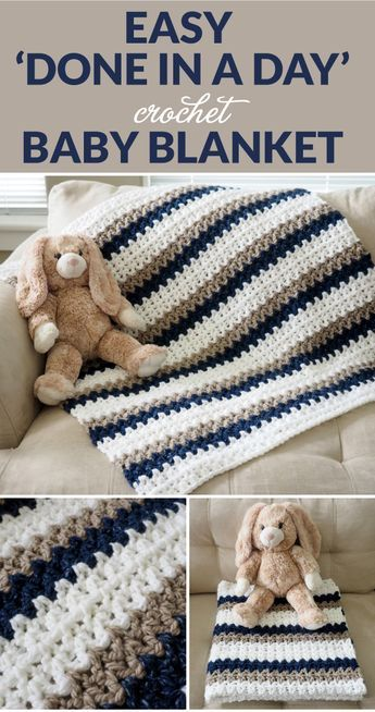 Easy 'Done in a Day' Crochet Baby Blanket - Dabbles & Babbles