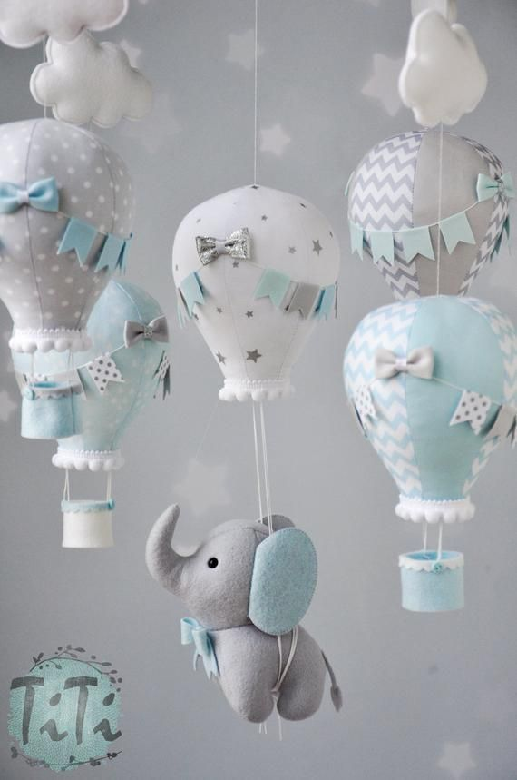 Elephant baby mobile, felt baby mobile, hot air balloon mobile, felt elephant, elephant balloon mobile,  baby blue, silver and gray mobile
