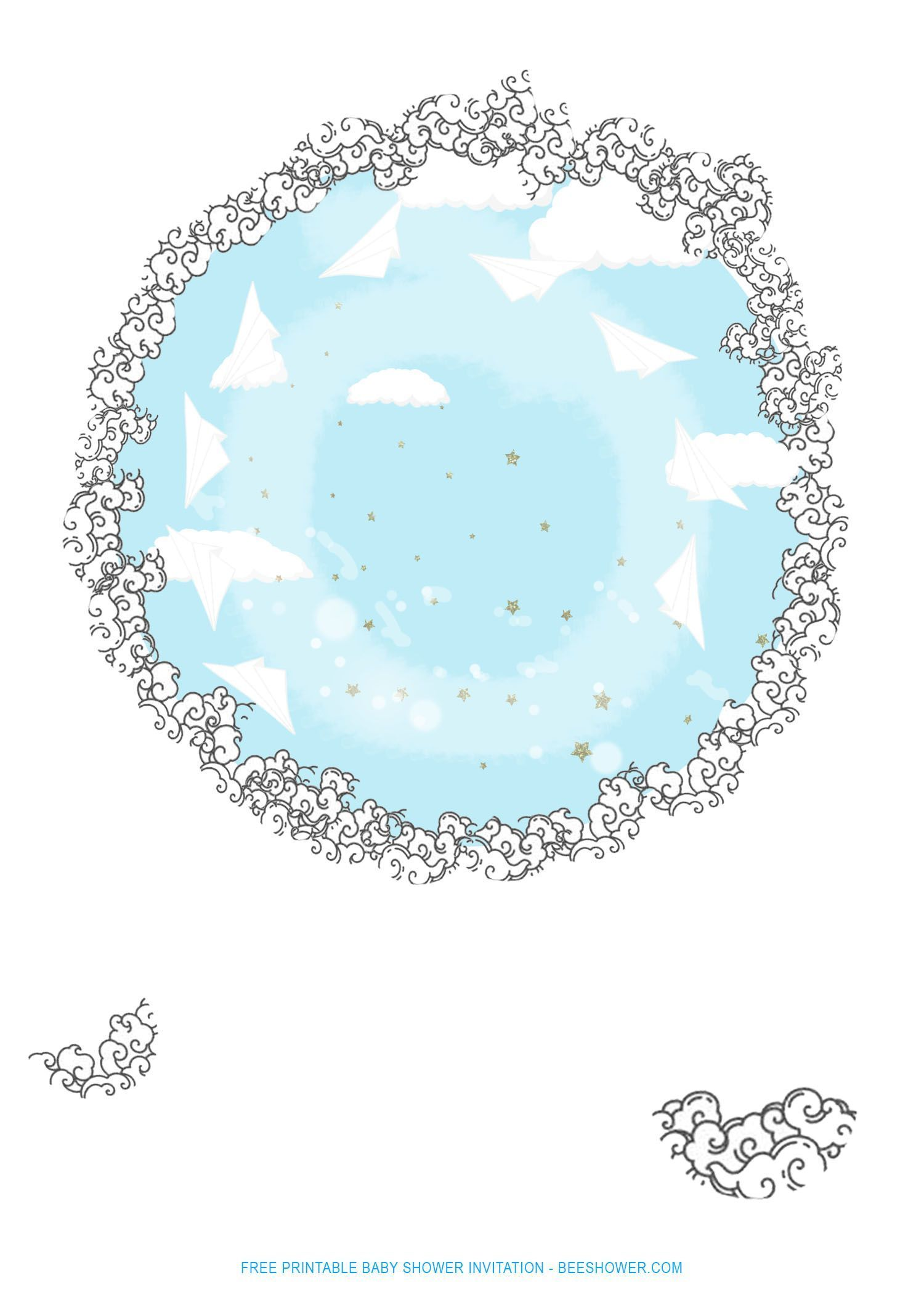FREE Printable Fluffy Clouds Baby Shower Invitation Templates - #Baby #Clouds #F...