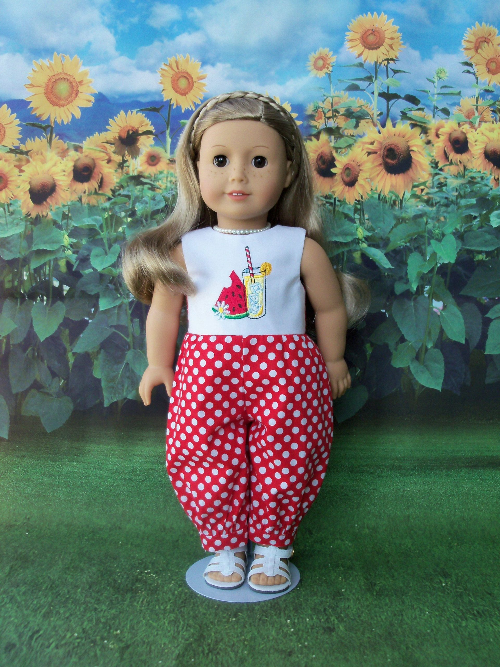 Fits Like American Girl Doll Clothes / Farmcookies Summer Romper Jumpsuit  / 18 Inch Doll Clothes/ Summer Play Clothes For American Girl