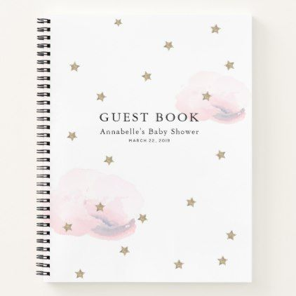 Gold Stars & Pink Clouds Baby Shower Guest Book | Zazzle.com