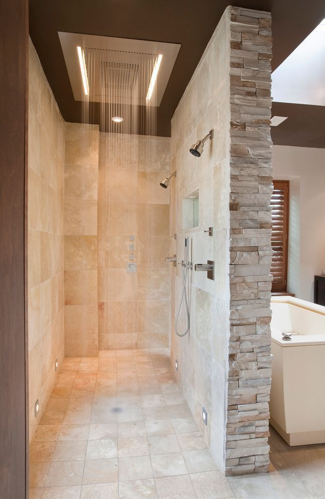 Home Depot Shower Board with Contemporary Bathroom and Beige Stone Wall Double S...