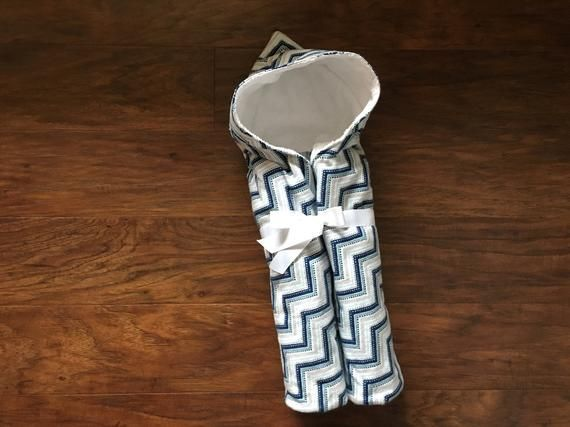 Hooded Baby Bath Towel Set with Blue and Gray Chevron Print, Baby Towel, Best Se...