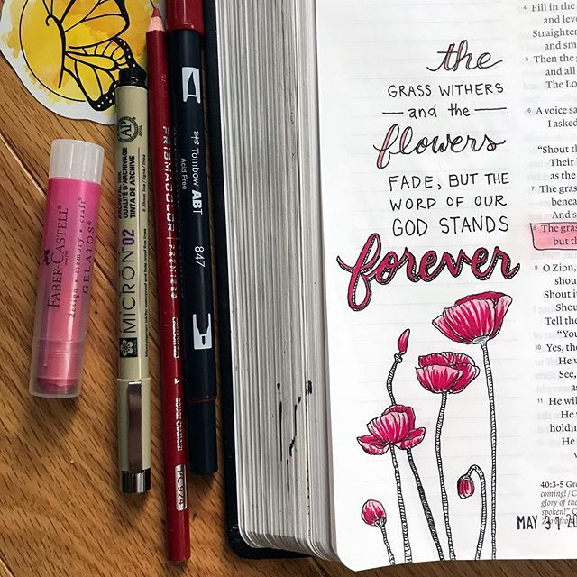 """Jenny Yagow on Instagram: """"Has Bible journaling impacted your spiritual life? . Isaiah 40:8 """"The grass withers and the flowers fade, but the word of our God stands…"""""""