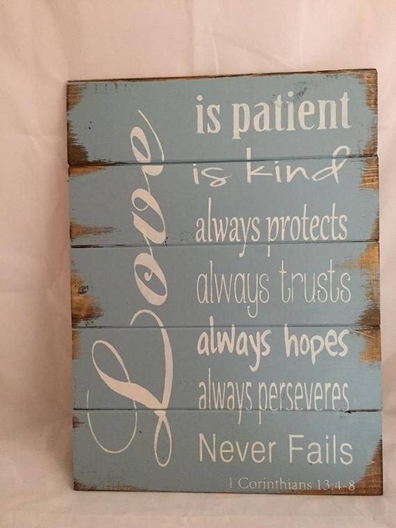 """Love is patient, kind, always protects, always trusts 1 Corinthians Bible quote 13""""w x17 1/2"""" hand-painted wood sign, wedding gift"""