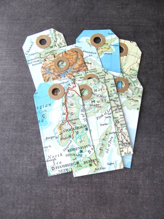 Map Tags, Travel Theme Wedding, Destination Wedding, Graduation, Shower, Birthday, Party Favor Tags, Gift Tags, Rustic