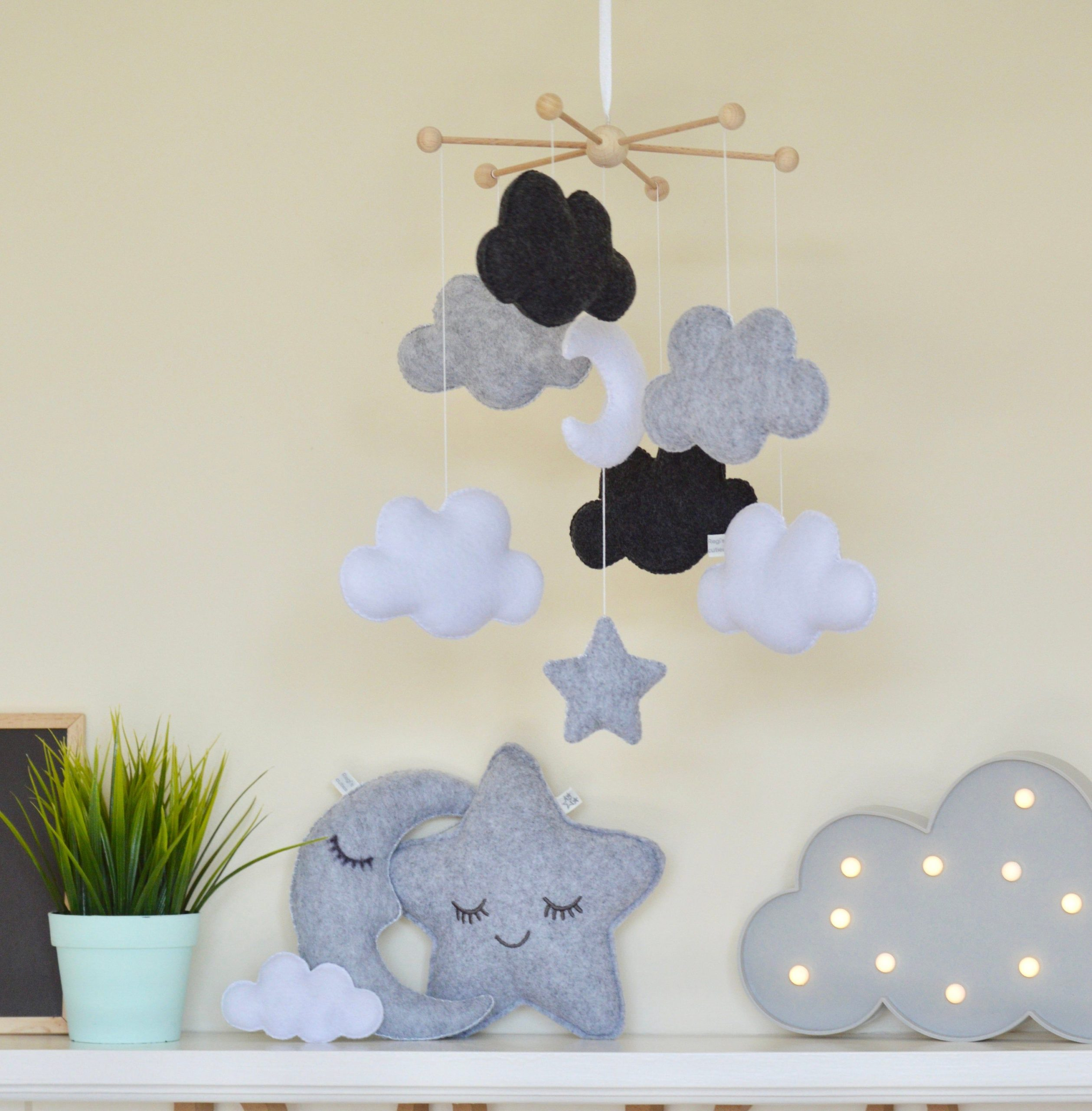 Monochrome mobile, cloud moon mobile, black and white mobile, cloud cot mobile, baby shower decor, moon mobile, cloud mobile, nursery mobile