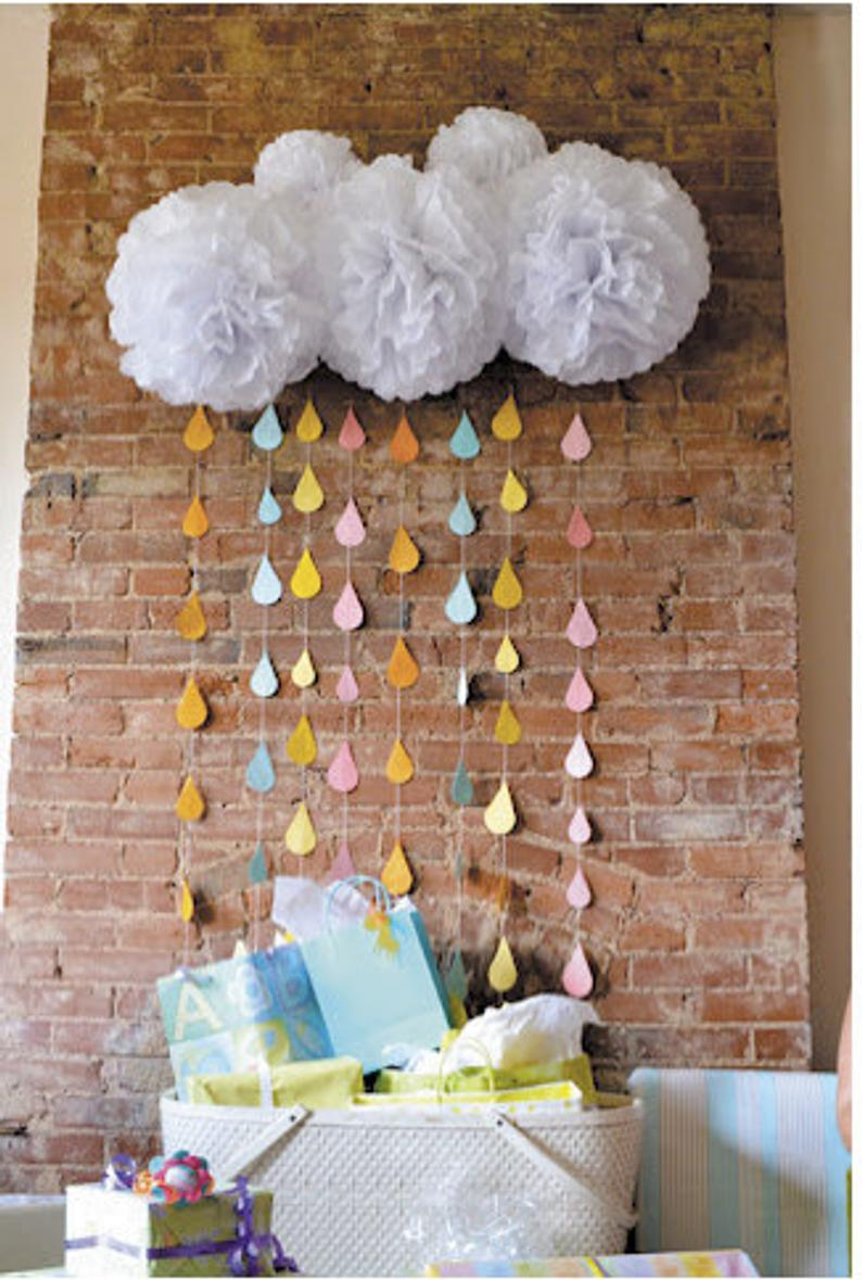 ONE Raindrop Garland Strand, baby sprinkle decorations, paper raindrops, sprinkle shower, baby shower decorations, girl baby shower decor