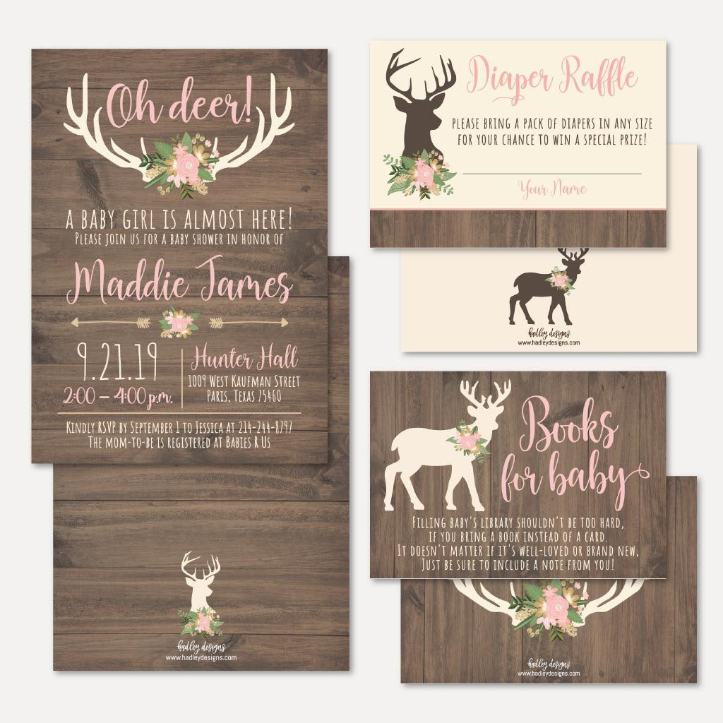 Oh Deer Girl Baby Shower Invitation Suite Template - Shower Invitation Package, Bundle, Invitation Set, Invitation, Raffle Request