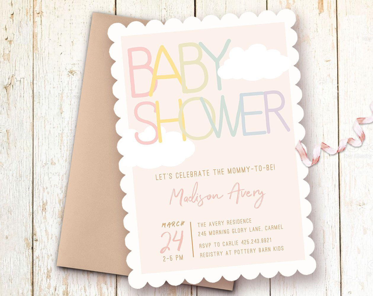 Pastel Theme Baby Shower Invitations, Clouds Baby Shower Invitation, Modern Baby Shower, Pink Baby Shower, Rainbow Baby Shower Invitation