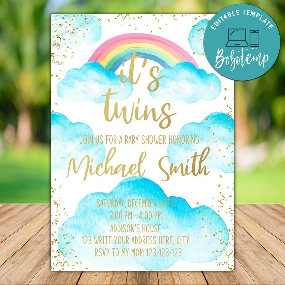 Printable Cloud Twins Baby Shower Invitation Instant Download