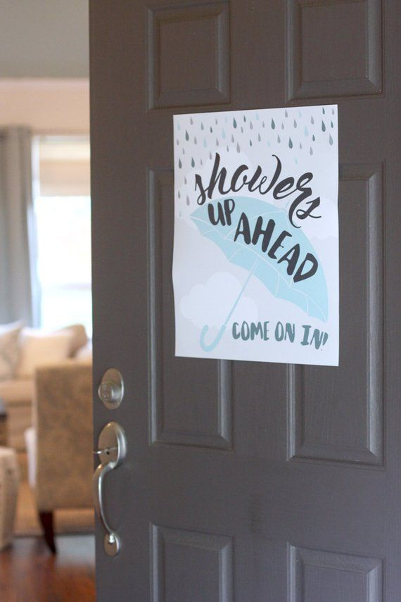 Printable Showered with Love welcome poster sign - Showers up ahead - Umbrella - Raindrops - Clouds - Baby boy shower  - Customizable