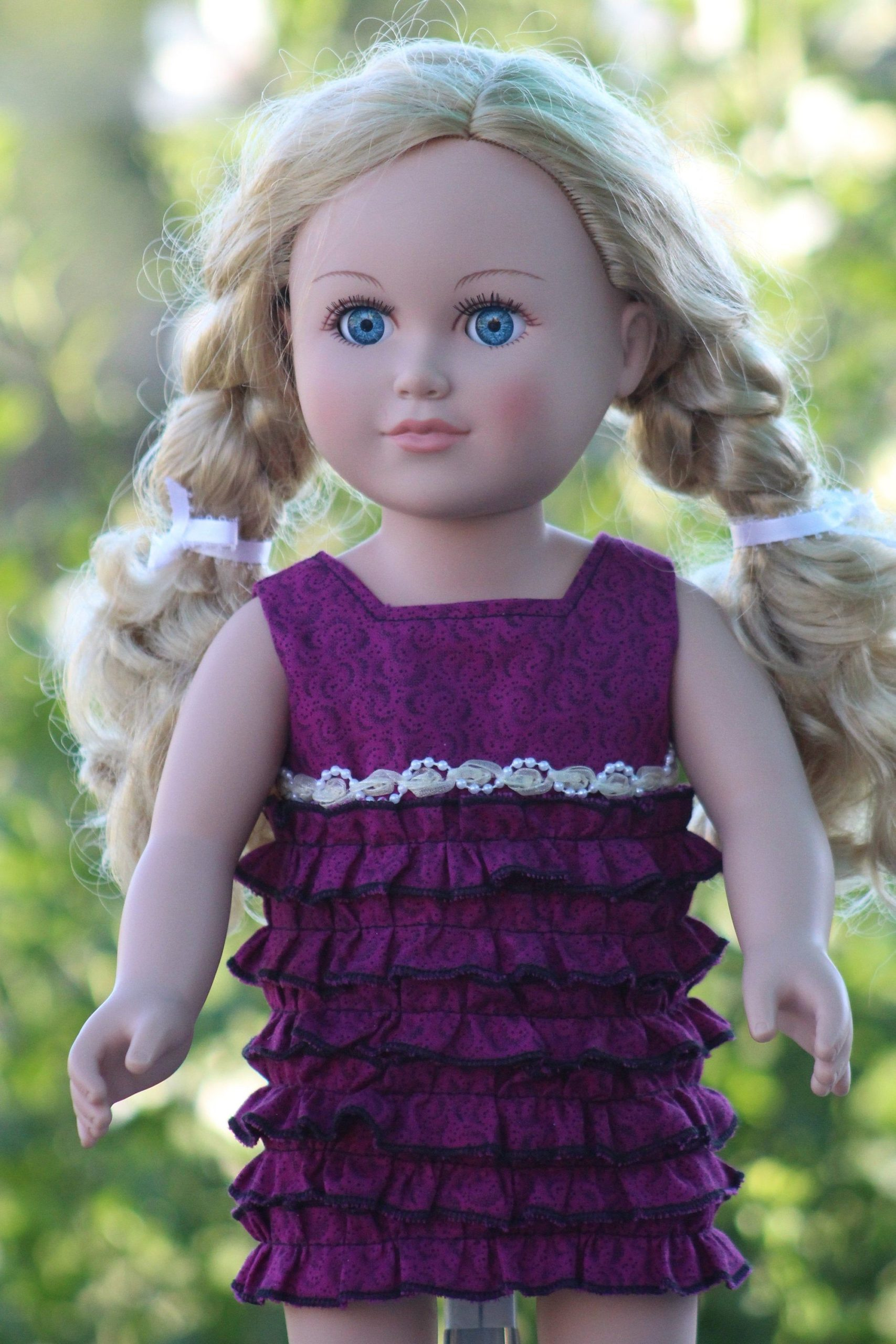 """Purple Ruffle Dress.  18"""" Doll Clothes, , My Life Doll Clothes, Doll Clothes, Our Generation, Journey Girls, American Girl Doll Clothes"""