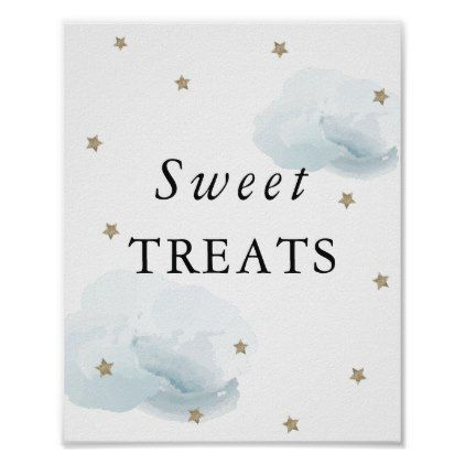 Stars & Blue Clouds Baby Shower Sweet Treats Sign | Zazzle.com
