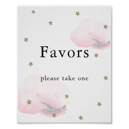 Stars & Pink Clouds Baby Shower Favors Sign | Zazzle.com