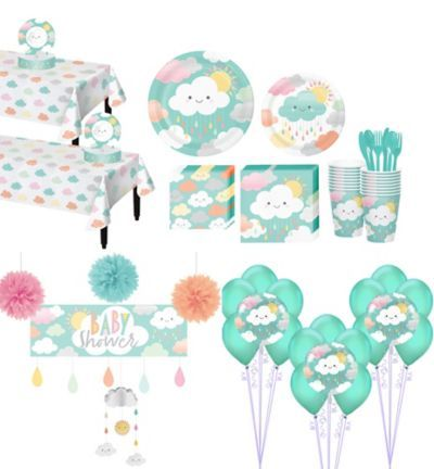 This Ultimate Happy Clouds Baby Shower Kit for 32 Guests includes tableware and ...