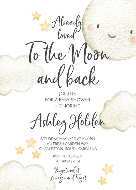 To the Moon and Back Baby Shower Invitation Gender Neutral, Clouds Stars Moon Pastel Digital Instant Download Editable Template DIY, 65