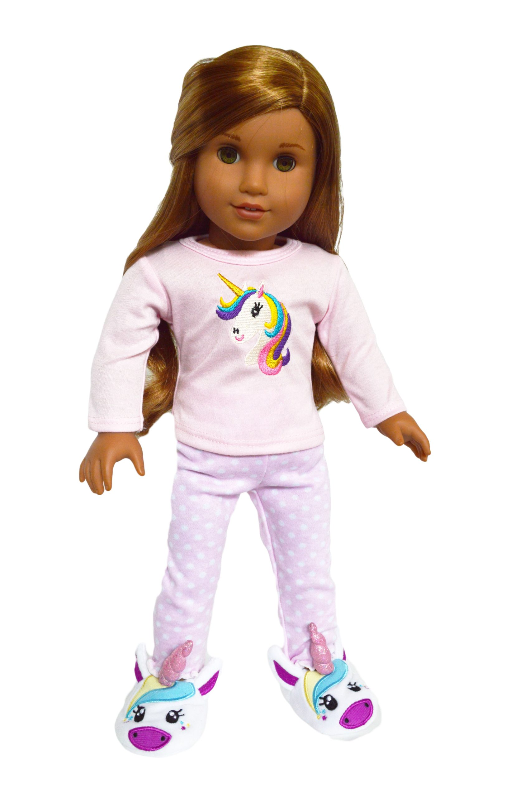 Unicorn Dreaming Pjs with Unicorn Slippers for American Girl Dolls, Our Generation Dolls and My Life