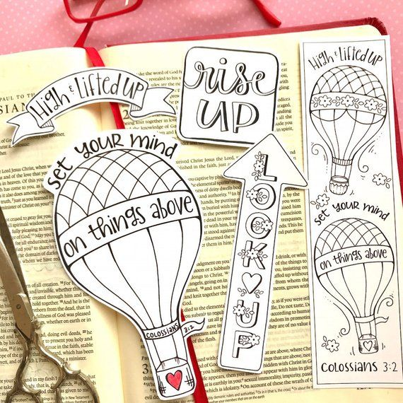 Up Up and Away - Colossians 3 - Color-Your-Own Bookmarks Bible Journaling Art Tracers - Instant download - Bible Verse Digital Printable