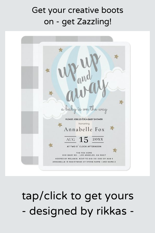 Up Up and Away Hot Air Balloon Blue Baby Shower Invitation   Zazzle.com