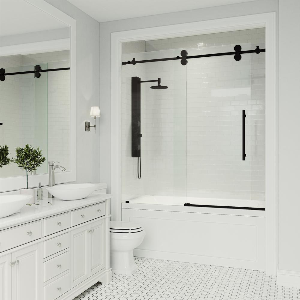 VIGO Elan 56 to 60 in. x 66 in. Frameless Sliding Tub Door in Clear/Matte Black with Clear Glass and Handle-VG6041MBCL6066 - The Home Depot