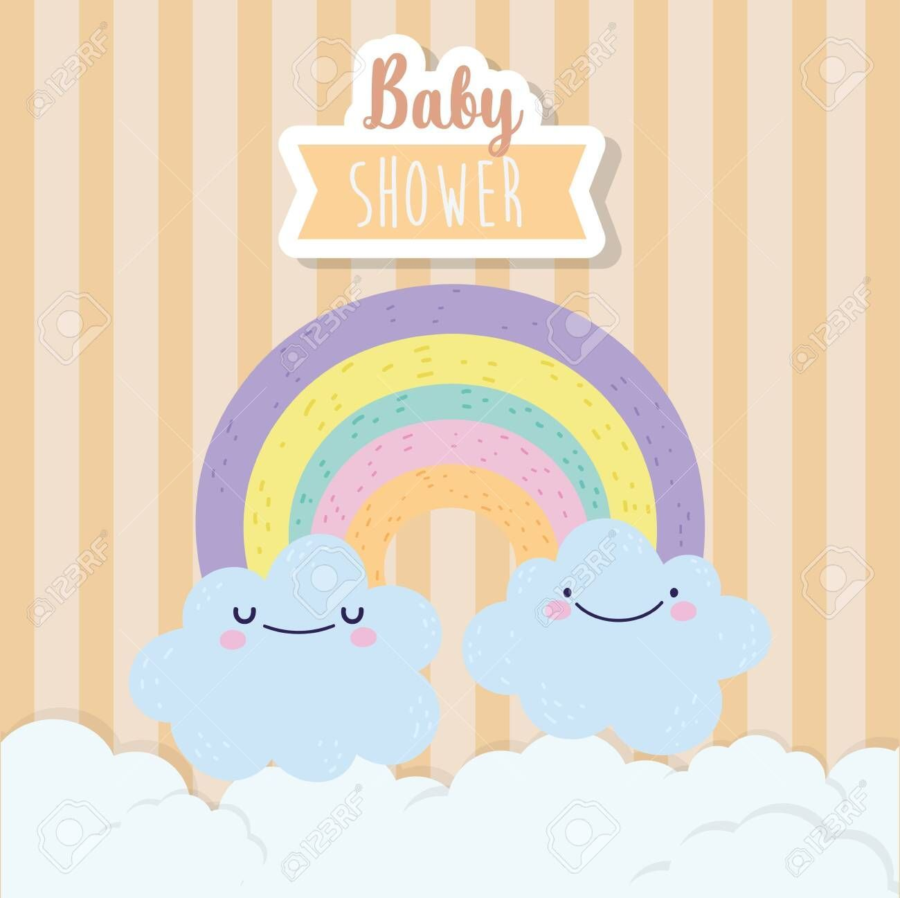 baby shower cute rainbow and clouds cartoon vector illustration , #Affiliate, #c...