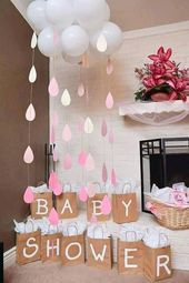 cloud made of balloons, paper rain drops, baby shower, gift bags, when to have a...