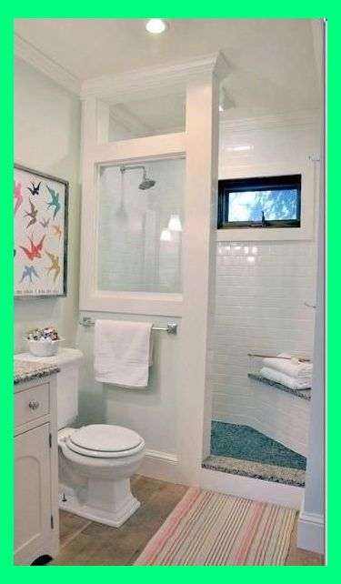 doorless shower modern farmhouse cottage chic love this shower for a small bathroom | Decor F...