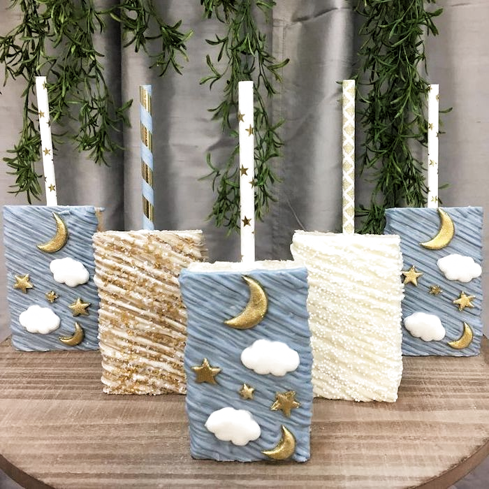 white brown and blue cake pops, gold stars and moon, sports themed baby shower, ...